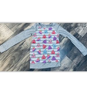 Justice Girls 10 Multicolor Emoji Knit Shirt Gray